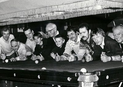 Members who took part in an all-night sponsored snooker event to assist the Portadown B.B. Battalion on their trip to Dallas, USA 1987.