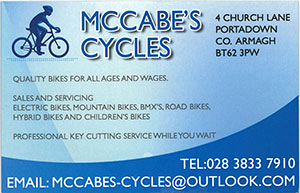 McCabe Cycles is a bicycle shop in Portadown that sells and repairs four generations of different bikes.